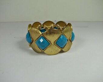 Vintage TURQUOISE DIAMOND Cuff BRACELET Gold Tone Metal & Plastic Stone Stretch Jewelry