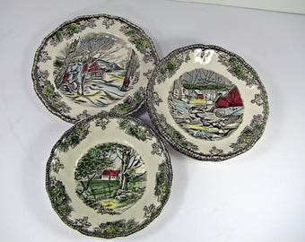 Vintage FRIENDLY ViLLAGE PLATE & Bowl Set/6 Johnson Bros Sugar Maples Ice House Stone Wall Transfer Ironstone England