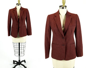 Vintage 1970s Rust Orange Brushed Wool School Boy Fit Blazer Size XS Extra Small S Small