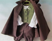 Toddler, Child's Hobbit Costume: Fully Lined Cloak With Hood & Vest, Shirt, Pants - All Cotton, Size 12 Months To Size 5, Ready To Ship