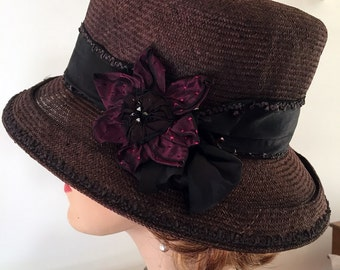 Unusual rich brown straw hat special for Kentucky Derby, Wedding or summer party.