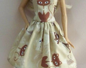 Handmade Barbie Clothes-Beige and Brown Cat Barbie Dress