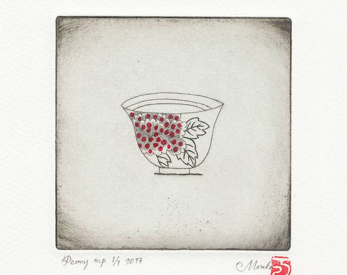 peony cup (spotty) etching print