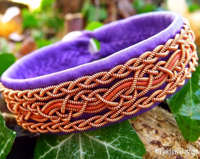 Vikings and Shieldmaidens Copper and Leather Bracelet in Purple and Rosewood NIDHOGG Norse Handcrafted Jewelry
