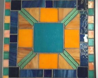 Turquoise Blue and Orange Geometric Table Mosaic Trivet