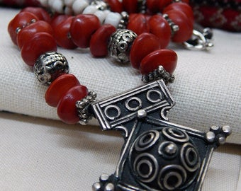 MOROCCAN 'Boghdad' Silver Cross Amulet; African Goomba Beads From Ghana; OOAK; Little Red Love Seeds; Heart To Heart; Protection Talisman.