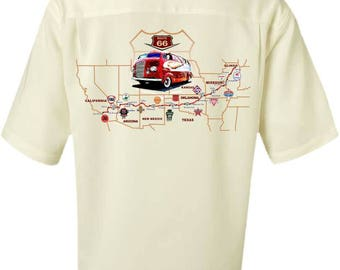 Men's Car Shirt-Historic Route 66-Vintage RV, Recreational Vehicle, RV gift,Men's Camp Shirt,retirement gift,father's day gift, men's gift