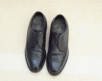 Vintage Executive Imperials Black Leather Wingtip Oxford Shoes, Union Made, Made in USA, Mens 7 1/2 / ITEM129