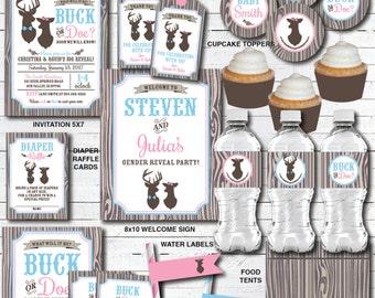 Buck or Doe Gender Reveal Decorations, Gender Reveal Party, Deer Baby Shower Decorations, DIY Printable PDF Files