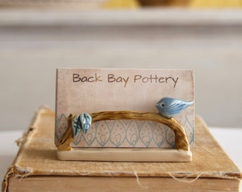 Bird on a Twig Business Card Holder - Sky Blue and French Cream - Modern Office Decor - MADE TO ORDER