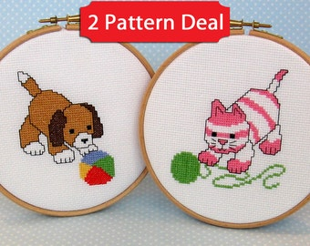 NEW - Cupcake and Muffin – 2 pattern deal - cat and dog cross stitch patterns – PDF instant download