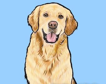 Digital Custom Dog Portrait / Custom Pet Portrait - 1 Pet Solid background for Printing Gift Memorial Drawing Golden Retriever Labrador
