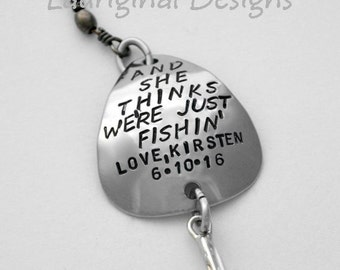 Personalized fishing lure - ONE custom fishing lure - Personalized fish hook - Any text that fits - Swipe through ALL photos!