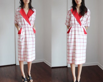 Vintage Red And White Grid Print Dress Small