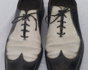Dress shoes Nunn Bush artist rock roll fiesta performance shoes wingtips 12 D two tone leather black white vintage