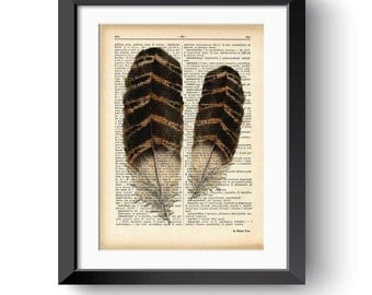 Vintage feathers dictionary print-feather print-feather on book page-Upcycled Dictionary art-boho print-wall decor-rustic-NATURA PICTA-DP175