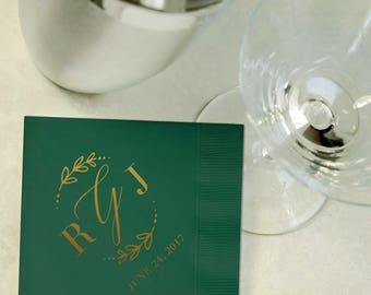 Custom Gold Foil and Emerald Green Cocktail Napkins - Wedding Reception, Event, Shower - Wreath, Leaves, Gold, Beverage, Drink Size