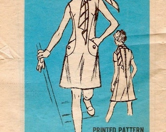 Mod Vintage 1960s Prominent Designer A867 Leslie Fay A Line Seam Interest Shift Dress and Scarf Sewing Pattern B36