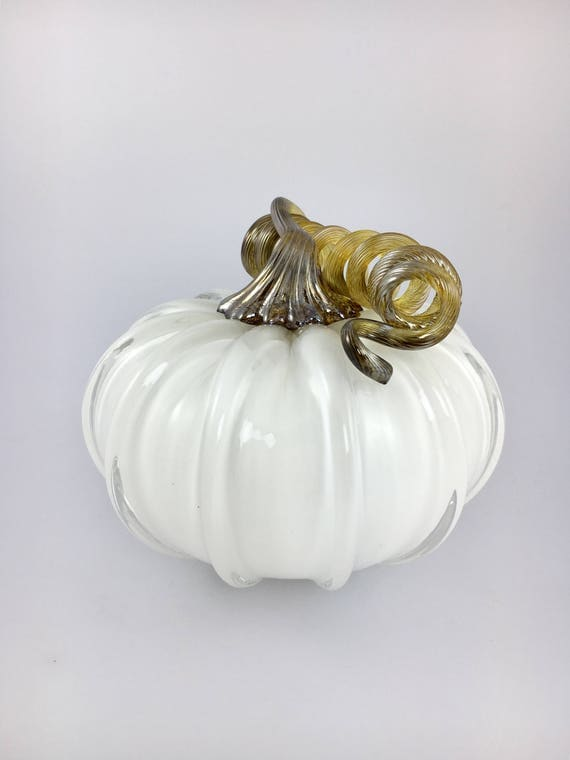 "4"" Glass Pumpkin by Jonathan Winfisky - Opaque Winter White - Hand Blown Glass"