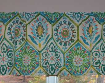 Kitchen Valance . Blue Tile Valance . Turquoise and Coral  Valance . Turquoise Blue Kitchen Curtain . Perfect Camper or Trailer Curtain