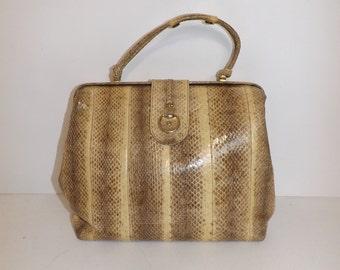 Vintage large real snakeskin leather grab handbag bag cream grey beige