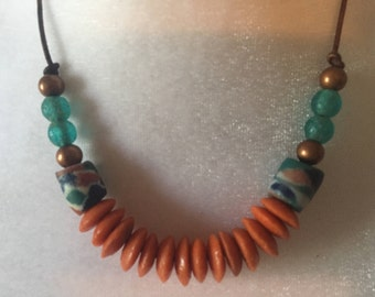 Unique Tribal Boho African Trade Beads Copper Recycled Glass surferUnisex Aqua & Orange Adjustable Leather Necklace