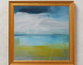 Abstract Contemporary Painting - Seascape on Streched Canvas - Ready to Hang Wall Art - Greece - Summer - Sea