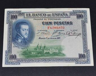 Spain Banknote 1925 100 Pesetas extra fine condition