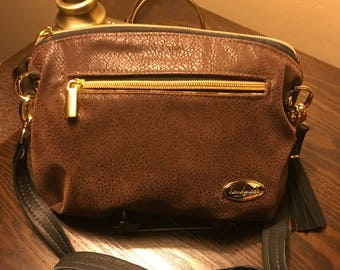 Keira's Crossbody Clutch Faux Suede & Leather w/ Credit Card Wallet w/ Gold Hardware