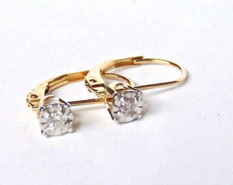 Diamond Earrings in 14K Gold, Yellow Gold, White Gold, Leverback, Appraisal Included