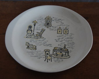 Vintage Colonial Theme Oval Platter
