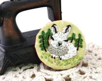 Brooch - Embroidery Brooch - Brooch Pin - Animal Brooch - Bunny Brooch - Rabbit Brooch - Bunny - Vegan and Cruelty Free by My Pretty Babi