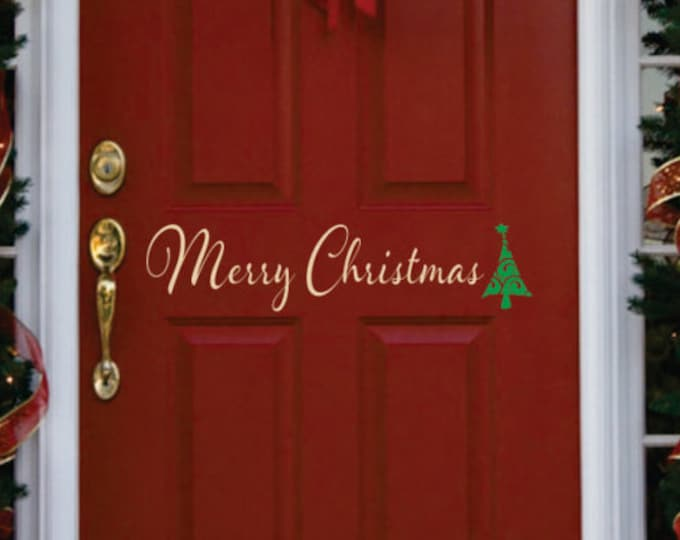 Christmas Decor - Small Decal - Merry Christmas Front Door  Decal - Christmas Decoration