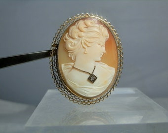 """Vintage Real Shell and Diamond Cameo 14k Yellow Gold Brooch Pendant Combo 2.09"""" Hallmarked by Jacco 13.76 grams 585 Gold DanPickedMinerals"""