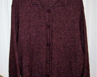 Vintage Ladies Maroon Wool Silk Cardigan Sweater by L L Bean Only 12 USD