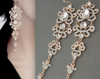 "Long, Gold chandelier earrings ~ Crystal statement earrings ~ 5""~ 14k gold over Sterling ear wires,Wedding jewelry,Brides earrings -ANGELINA"