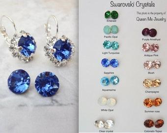 Blue sapphire earrings, Halo, Swarovski blue sapphire crystal earrings, Something blue, Brides crystal earrings, Bridesmaids earrings,SOPHIA