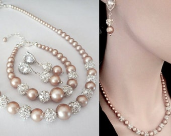 Champagne pearl jewelry set, Swarovski pearls and crystals, 3 piece set pearl set, Pearl bridal jewelry set, TOP SELLER, DESTINY