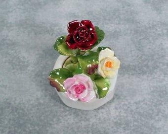 Vintage AYNSLEY England Bone China Floral Flower Display Miniature