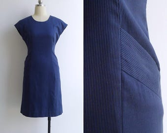 15% Code - MAR15OFF - Vintage 80's Navy Blue Textured Stripe Wiggle Dress XS or S