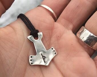 Silver Mjolnir Pendant - Mjolnir Jewelry - Thors Hammer - Viking Rune Jewelry - Custom Elder Futhark Rune