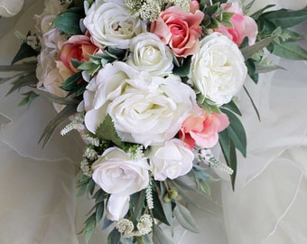 Teardrop, cascade bridal bouquet, wedding flowers, artificial wedding bouquet.  Roses, lissianthus, peonies, eucalyptus foliage.