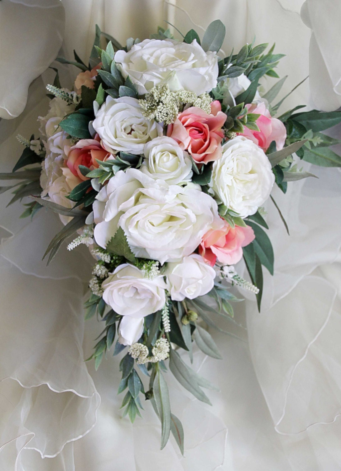 Teardrop Cascade Bridal Bouquet Wedding Flowers Artificial