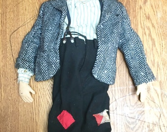 Vintage Hobo Marionette, Multi-String Marionette, Handmade Puppet Marionette