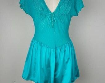 Teal lace teddy with flirt skirt - Medium 36