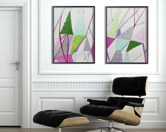 Large ABSTRACT Painting on paper Greenery Green  Grey Pink Geometric art modern art by Duealberi