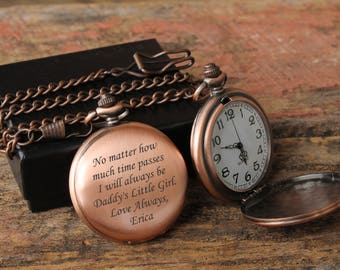 Custom Pocket Watch,Father Daughter gift,Personalized Pocket Watch,Mens Personalized,Father of Bride gift,Gift for Dad, Daddys girl