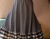 Gingham prairie skirt vintage 80s