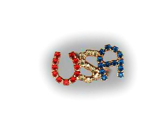 USA rhinestone pin with safety clasp, red white and blue, gold, election year, gift for election winner