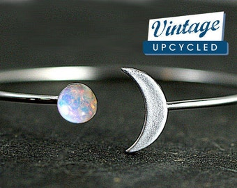 Crescent Moon Bangle with genuine vintage fire opal stone. Hand patinated silver. Fully adjustable. Bangle bracelet.Gift for her.